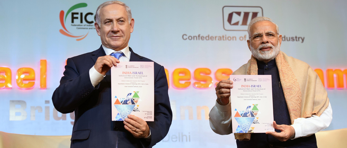 Prime Minister and Benjamin Netanyahu, Prime Minister of Israel at India-Israel Business Summit in New Delhi