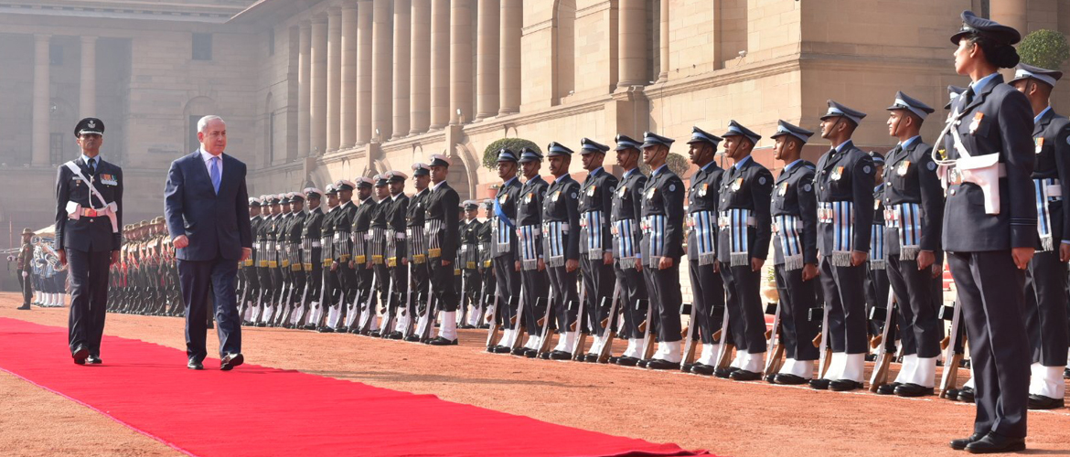 Benjamin Netanyahu, Prime Minister of Israel inspects Guard of Honour during his Ceremonial Reception at Rashtrapati Bhawan in New Delhi