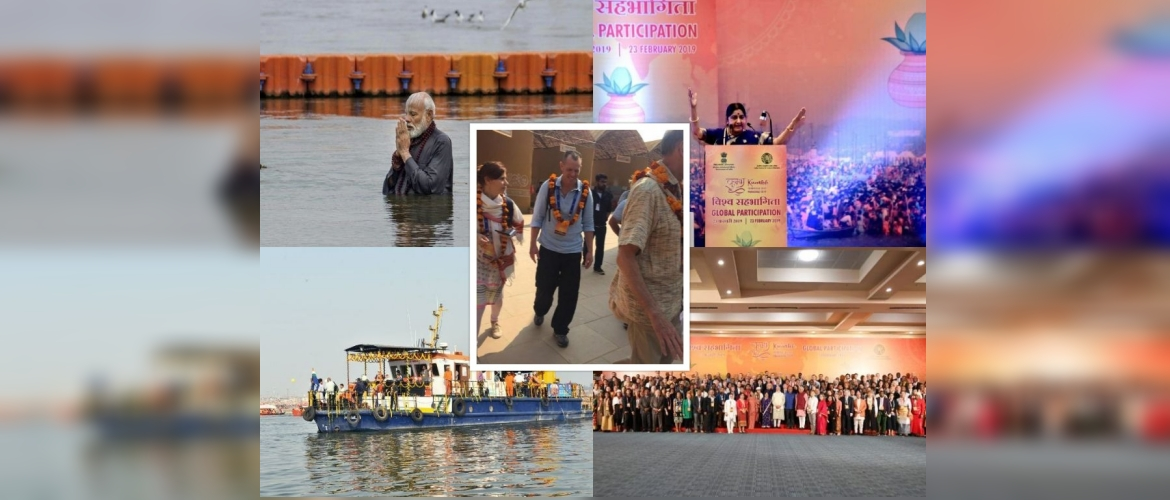 "<span style=""font-size:14px;"">At the invitation of the Government of India, delegates from 182 countries visited the Kumbh Mela 2019 on the banks of the river Ganga in the holy city of Prayagraj. Minister of State for External Affairs, Gen (retd) V. K. Singh, accompanied the special visitors, including Mr. Eldad Sela from Israel, to Prayagraj on February 22. Prime Minister Narendra Modi and External Affairs Minister Sushma Swaraj also interacted with the delegates on February 23 in New Delhi.</span>"
